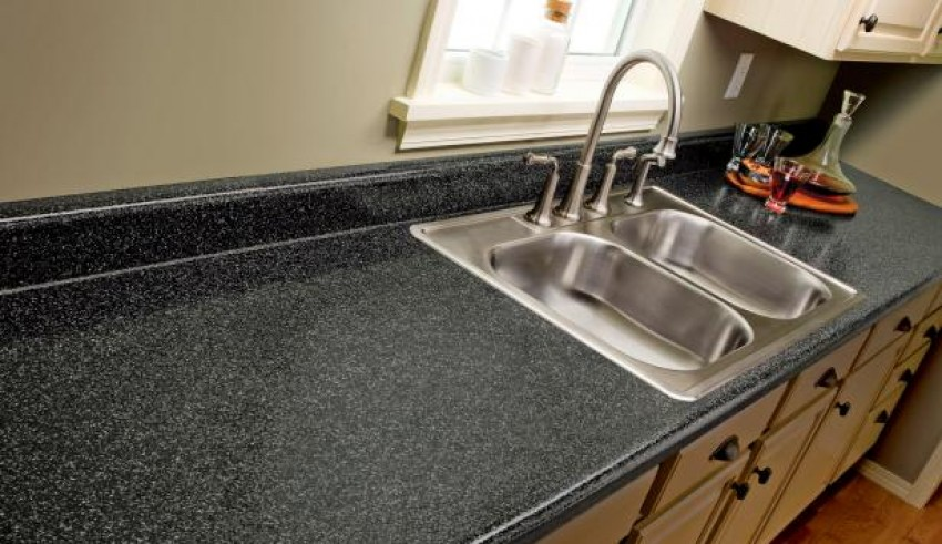 Updating Kitchen Counters With Textured Paint Spray
